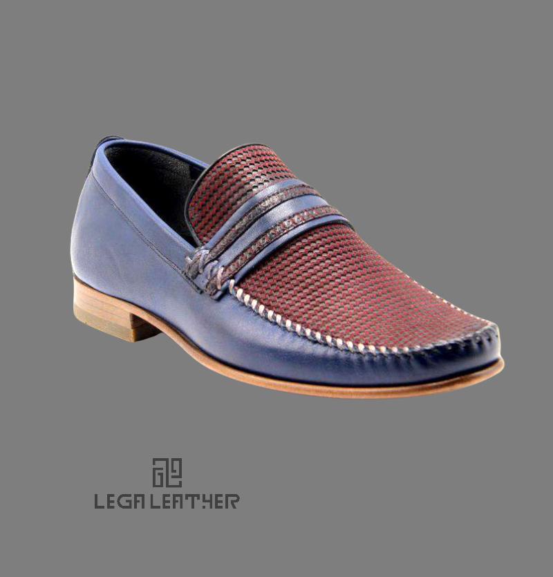 کفش مردانه مدل گوچی فانتوفلی رنگ سرمه ای زرشکی