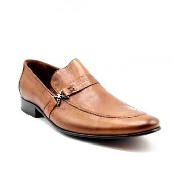 کفش دو دوخت بغل سگکی عسلی